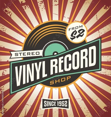 Fotomural Vinyl record shop retro sign design.