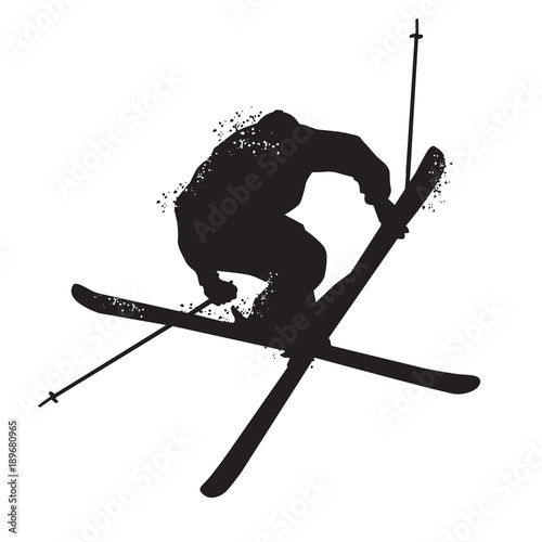 Silhouette of Freestyle skiing