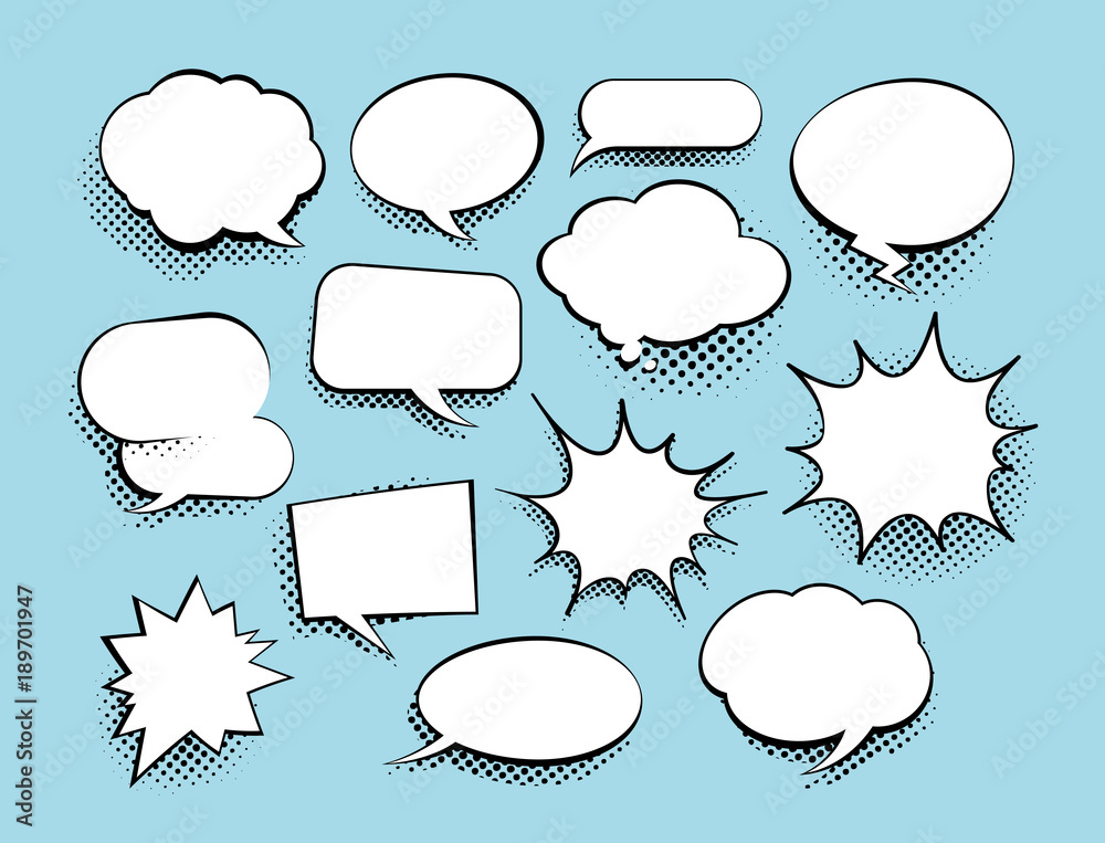 Fototapety, obrazy: Set of comic art speech bubbles with halftone. Vector illustration