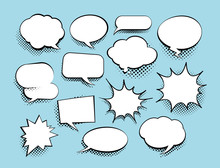Set Of Comic Art Speech Bubble...