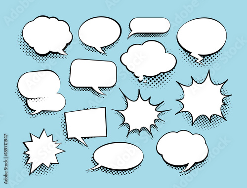 Pinturas sobre lienzo  Set of comic art speech bubbles with halftone
