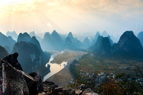 Foto op Canvas Guilin Landscape of Guilin, Li River.Yangshuo County, Guilin City,Province, China.