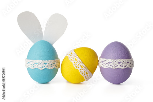 Photo easter eggs isolated on white