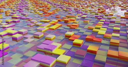 A system of flooded color cubes.