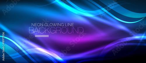 Fotografie, Obraz Neon blue elegant smooth wave lines digital abstract background