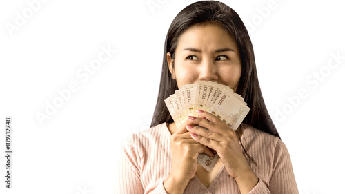 Fényképezés happy Asian woman smiling hand holding money standing isolated on white backgrou