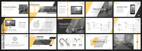 Fototapeta Abstract white, Yellow presentation slides. Modern brochure cover design. Fancy info banner frame. Creative infographic elements set. Urban city font. Vector title sheet model. Ad flyer style template obraz na płótnie