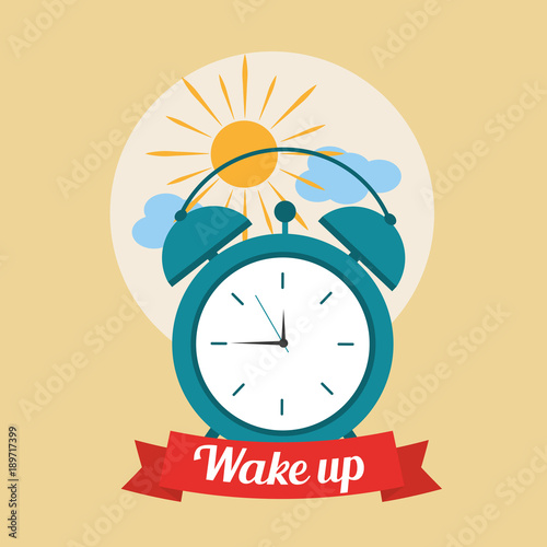 Fotografie, Obraz  wake up good morning poster with alarm clock and clouds vector illustration