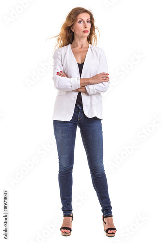9fde99a3e3a Beautiful caucasian woman wear white shirt and jeans. Studio shot isolated  on white