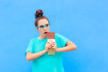 Funny Woman On Diet Craving Big Dessert Chocolate Bar
