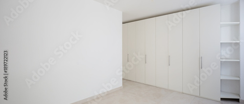 Fotomural Interior of modern empty apartment, white wardrobe