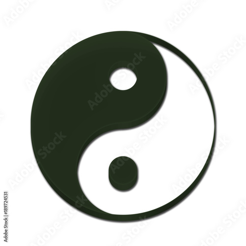 Fotografie, Obraz  Yin Yang Symbol Icon Logo 3D Dark Green Color