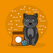 pet cat sitting with bag food and ball toy vector illustration