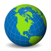 Earth Globe With Green World M...