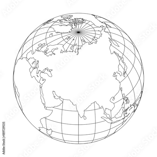 Outline Earth Globe With Map Of World Focused On Asia Vector