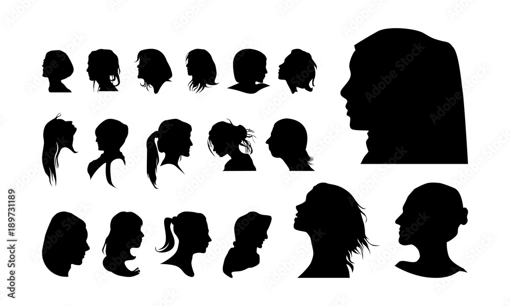 Fototapeta set of detailed Girl head avatar face silhouette vector illustration