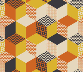 Geometric seamless pattern vector illustration in retro 60s style. Vintage 1970s geometry shapes graphic abstract repeatable motif for carpet, wrapping paper, fabric, background.