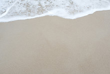 Top View Image Of Waves On Tropical White Beach With Sand