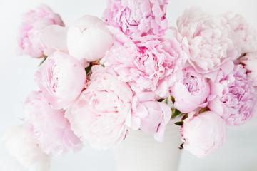 Fototapetabeautiful pink peony flowers bouquet in vase