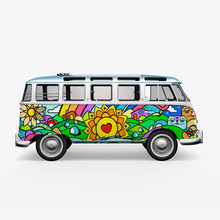 3D Render Hippie Bus On White ...