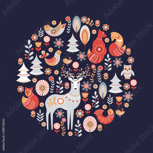 фотография Decorative circular ornament with animals, birds, flowers and trees