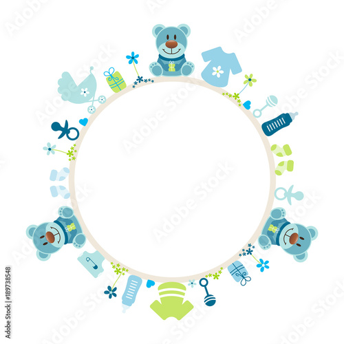 Blue Teddy Baby Symbols Boy Frame Buy This Stock Vector And