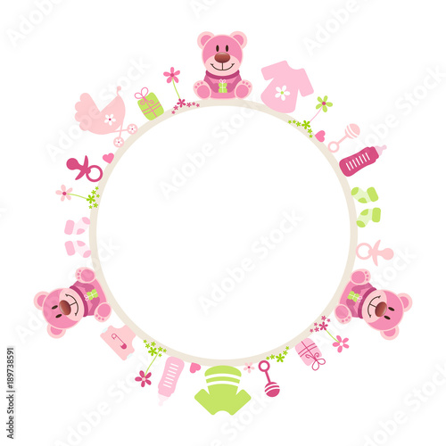 Rose Teddy Baby Symbols Girl Frame - Buy this stock vector and ...