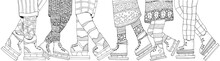 Winter Boys And Girls On Skates. Adult Coloring Book Page. Vertical Pattern For Coloring Book With Legs. Scandinavian. Black And White.