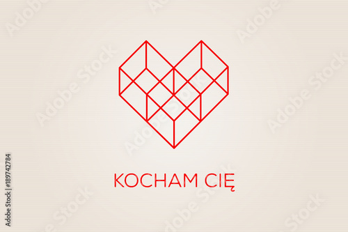 Photo Serce złożone z figur geometrycznych, trzech sześcianów na jasnym tle z napisem