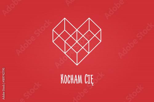Serce złożone z figur geometrycznych, trzech sześcianów na czerwonym tle z napis Canvas Print