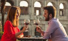 Romantic Couple Drinking Glass...