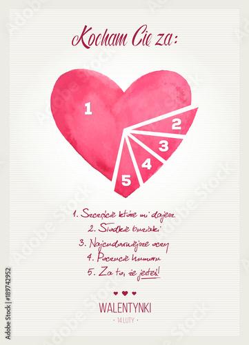 """Photo Podzielone serce na kawałki z napisem """"Kocham Cię za…"""" z okazji Walentynek"""