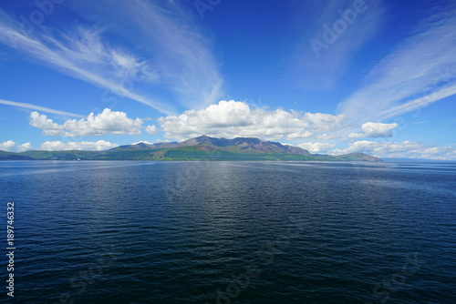 Photo View of the Isle of Arran in Scotland seen from the water