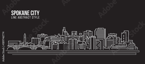 Cityscape Building Line art Vector Illustration design - Spokane city #189746774
