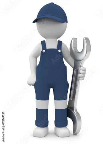 Fotografie, Obraz  3d Männchen Handwerker mit Steckschlüssel