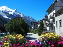 CHAMONIX MONT BLANC Village With High Alpine Mountains Range Landscape In French ALPS