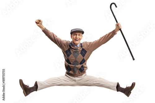 Papel de parede Overjoyed senior with a cane jumping