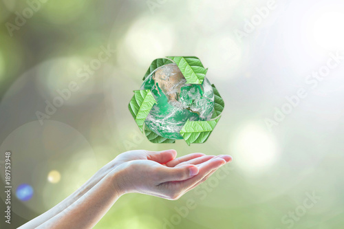 Fotografija  Waste recycle management, eco friendly, energy saving awareness month concept: E