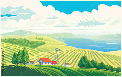 Fotobehang Wit Rural landscape with a beautiful view of distant fields and lake or sea. Vector illustration.