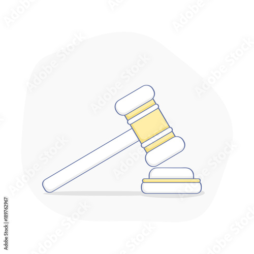 Photo Hammer for auction, legal proceedings, bargaining, bidding, court, attorney, law and justice icon concept