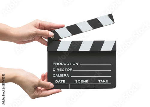 Cuadros en Lienzo Film slate board or cinema act clapperboard on woman's hand with take, action, s