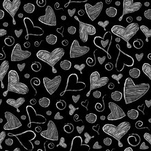 Valentine's Day Vector Seamless Pattern. Hand Drawn White Heart And Doodles On A Black Background. Texture For Holiday And Wedding.