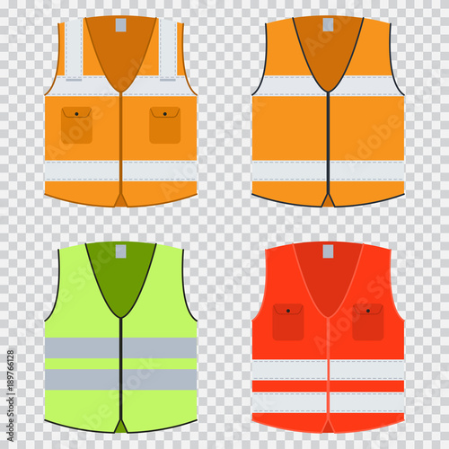 Fotografía Vest safety vector flat set