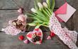 canvas print picture - Blumen und Schokolade