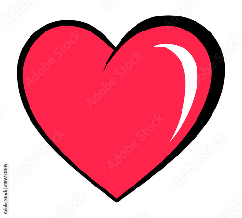 Cuadros en Lienzo heart in a cartoon comic book style(isolated object with no background)