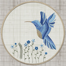 Embroidery Blue Bird And Flowe...