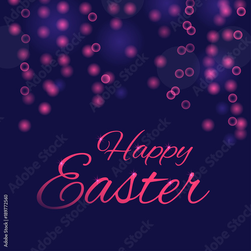 Easter Banner Background Template With Beautiful Light Effect And Bokeh Modern Postcard Or Invitation For Holliday