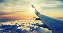 Sunset Horizon Viewed From Airplane Window