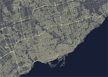 Vector Map Of The City Of Toronto, Canada