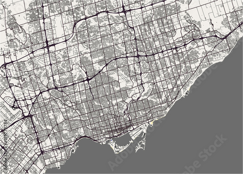 Photo vector map of the city of Toronto, Canada